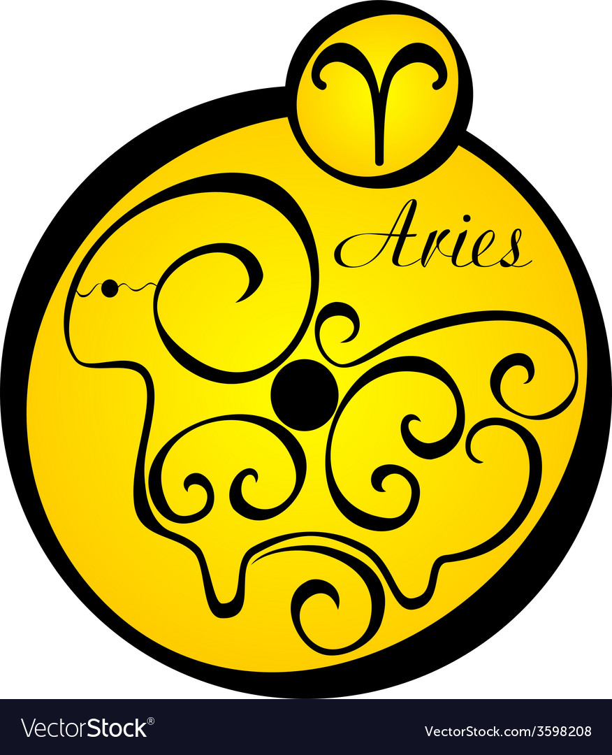 Stylized zodiac signs in a yellow circle aries vector | Price: 1 Credit (USD $1)