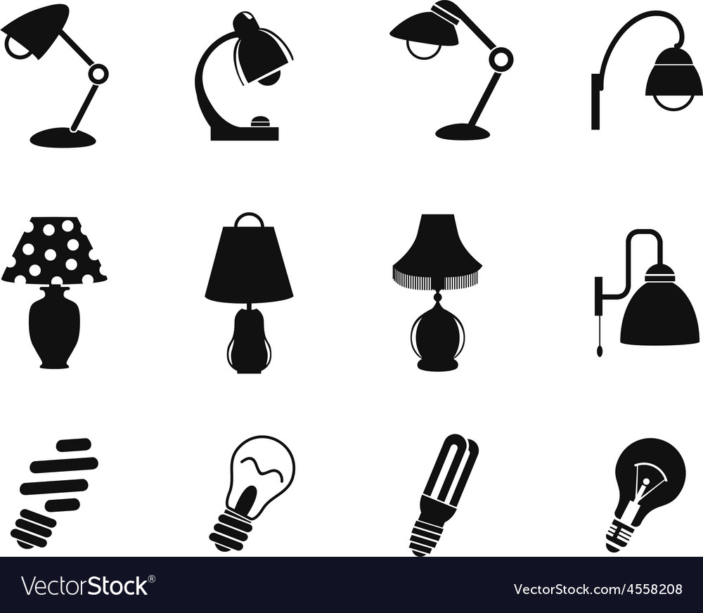 Table lamp and light icon vector | Price: 1 Credit (USD $1)