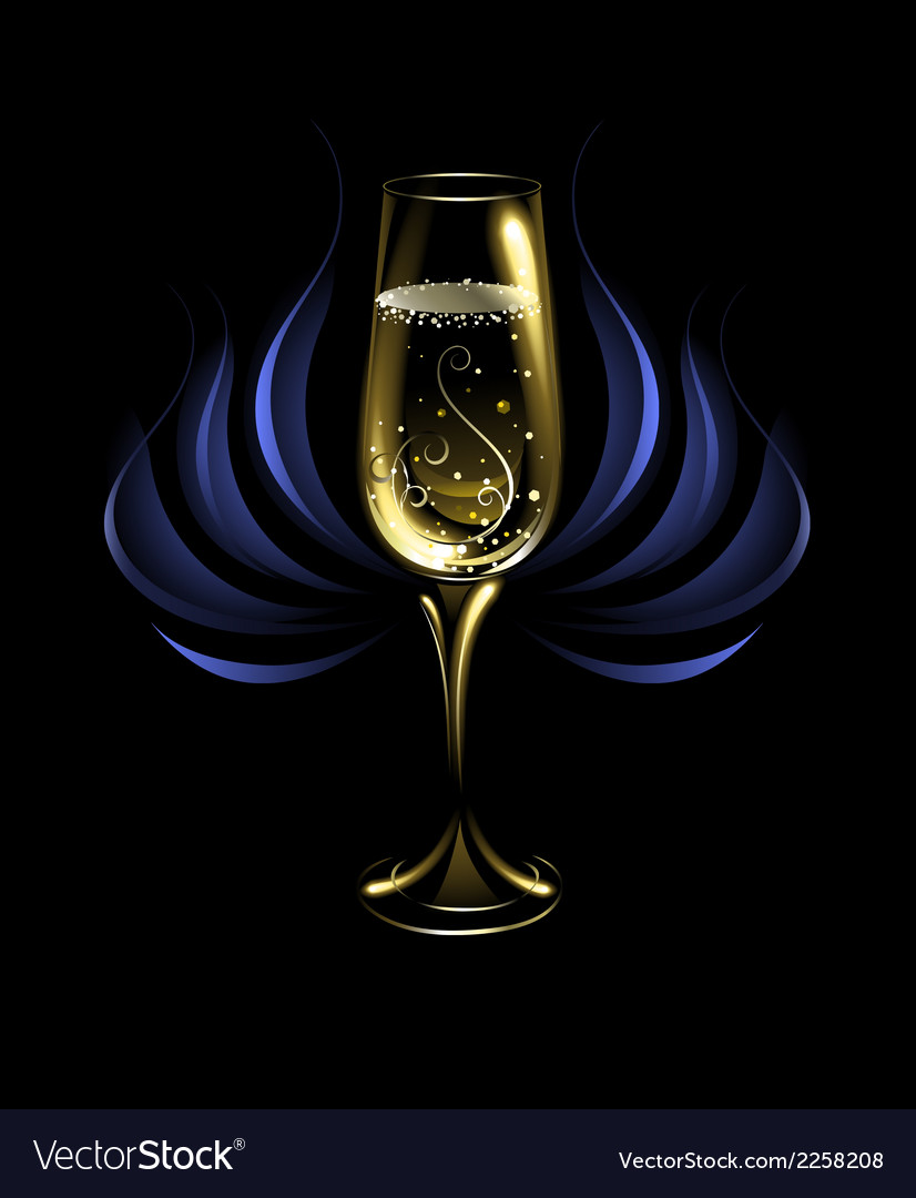 Wineglass of champagne vector | Price: 1 Credit (USD $1)