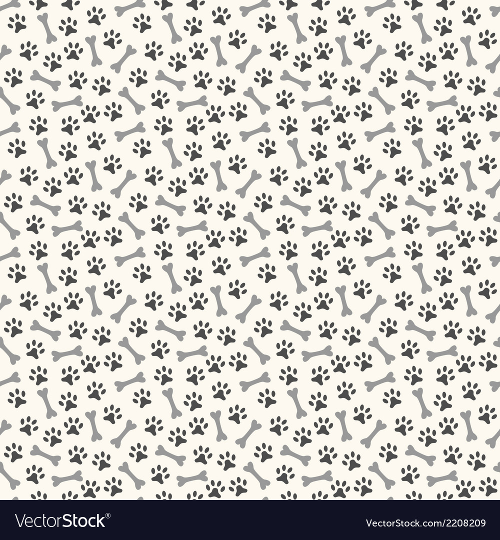 Animal seamless pattern of paw footprint and bone vector | Price: 1 Credit (USD $1)