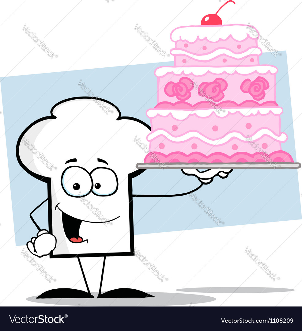 Chef hat guy holding a pink wedding cake vector   Price: 1 Credit (USD $1)