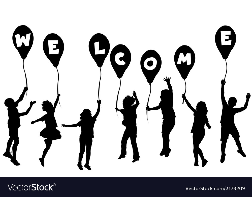 Children silhouettes holding balloons with letters vector | Price: 1 Credit (USD $1)