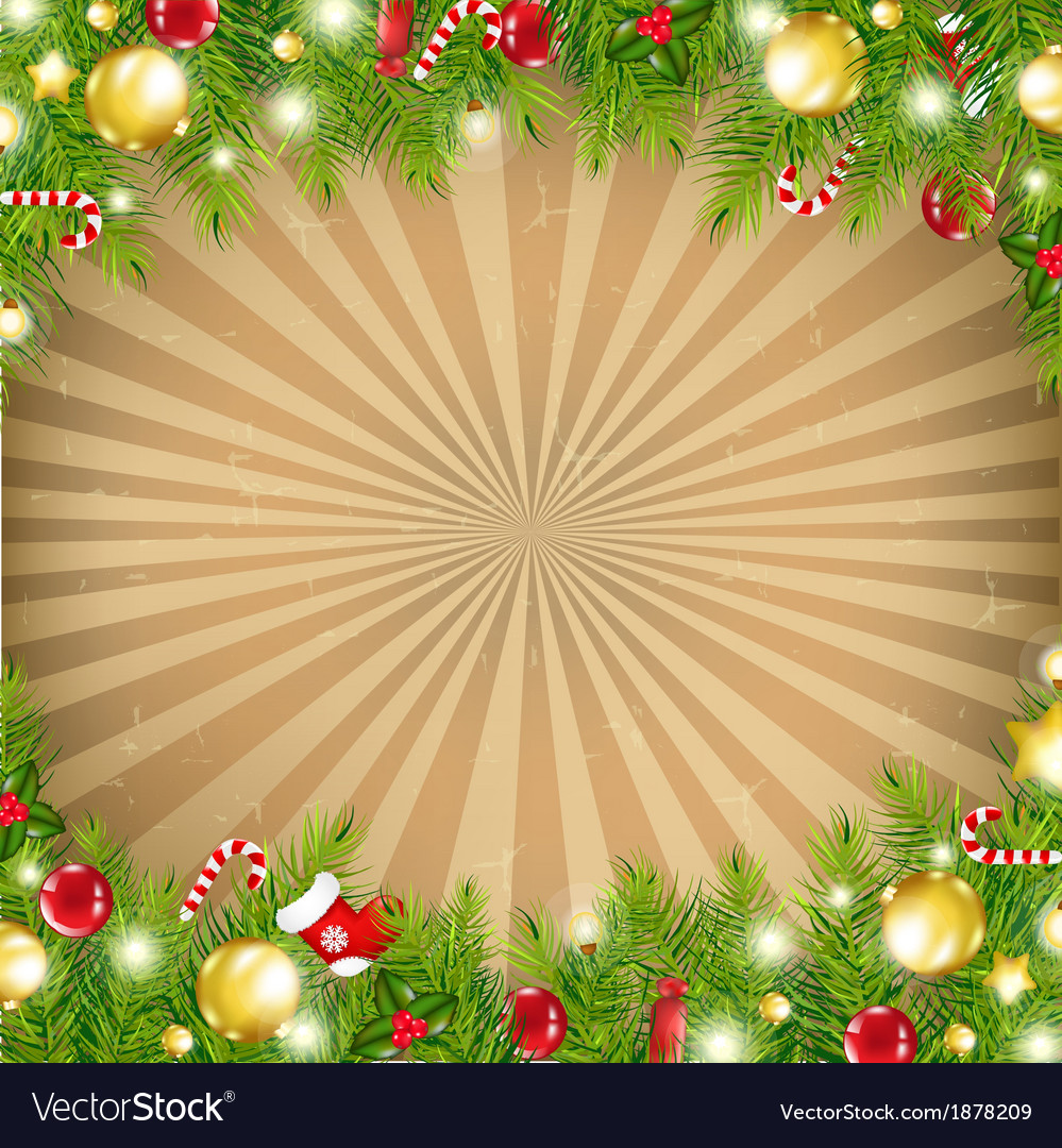 Christmas retro background with xmas fir tree vector | Price: 1 Credit (USD $1)
