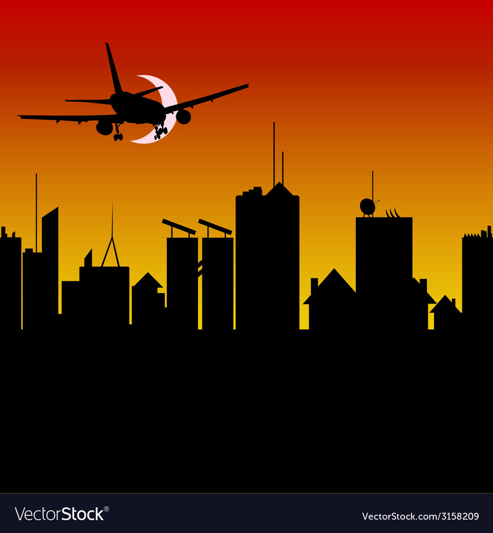 City silhouette with airplane vector | Price: 1 Credit (USD $1)