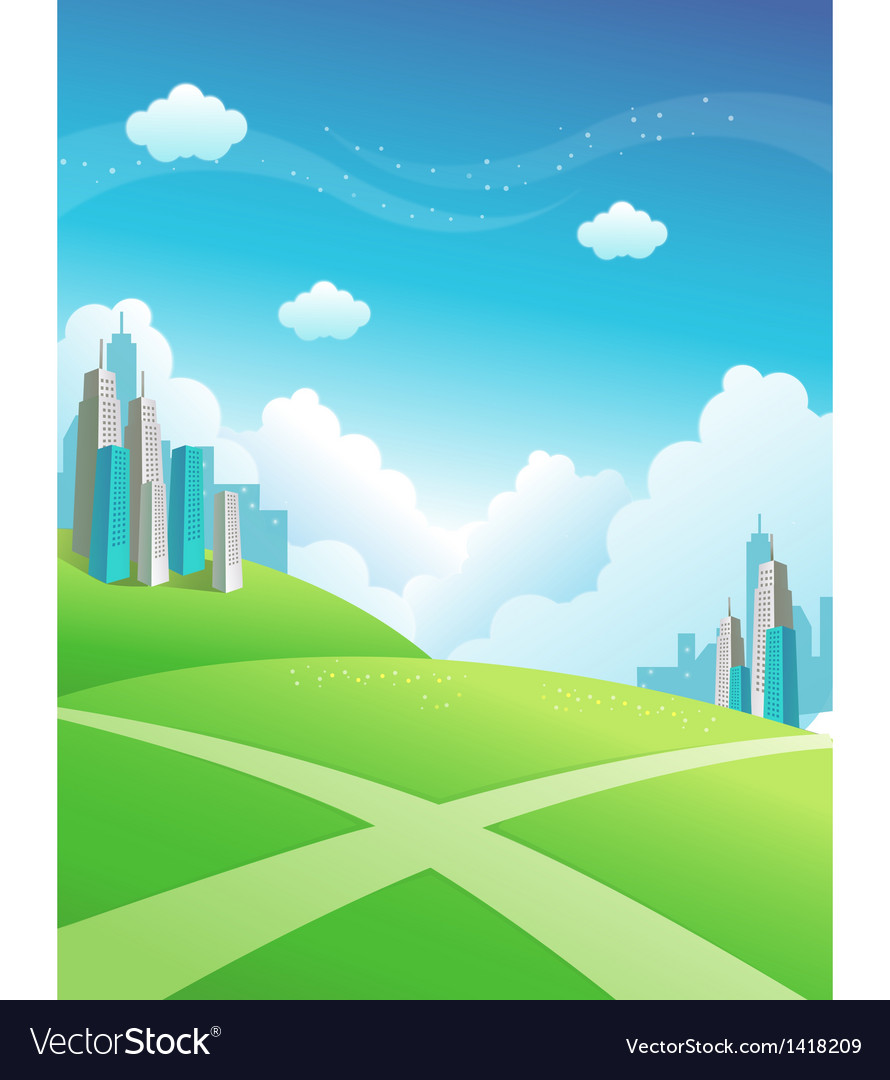 Cityscape green mountain vector | Price: 1 Credit (USD $1)