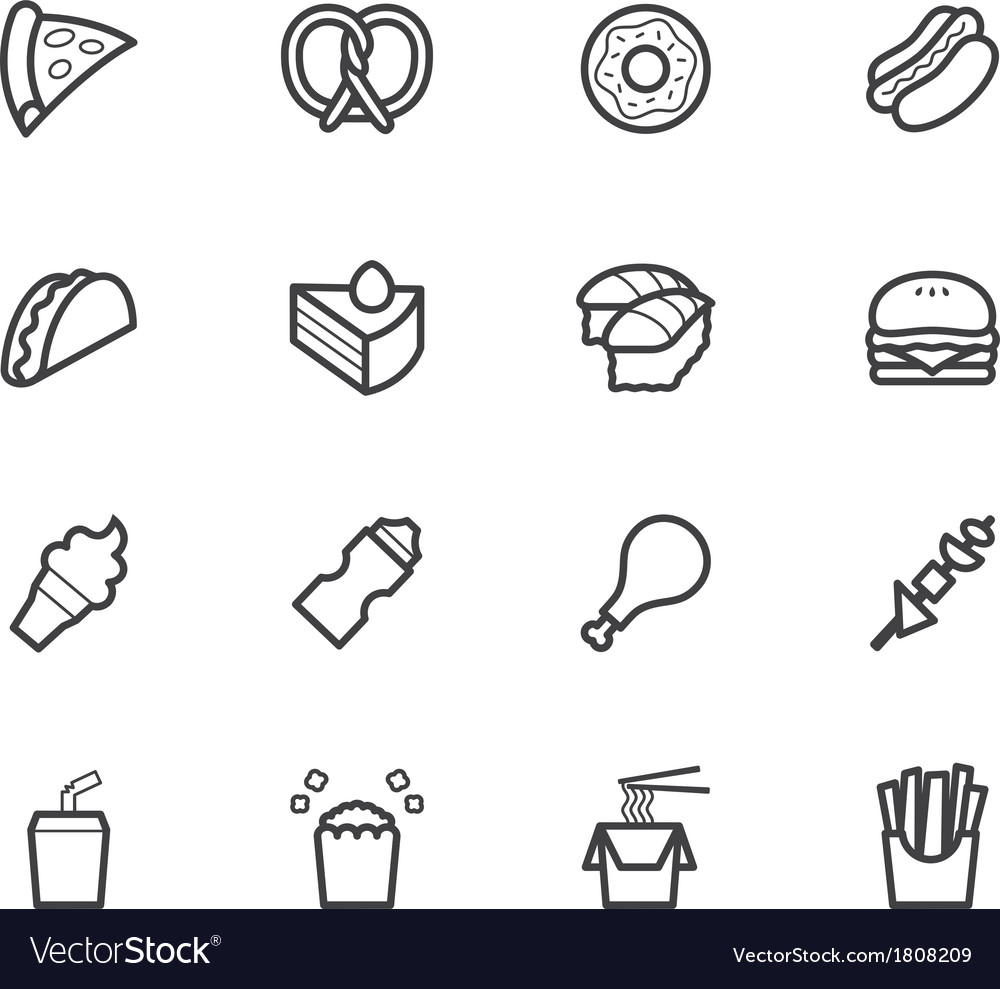 Fast food black icon set on white background vector | Price: 1 Credit (USD $1)