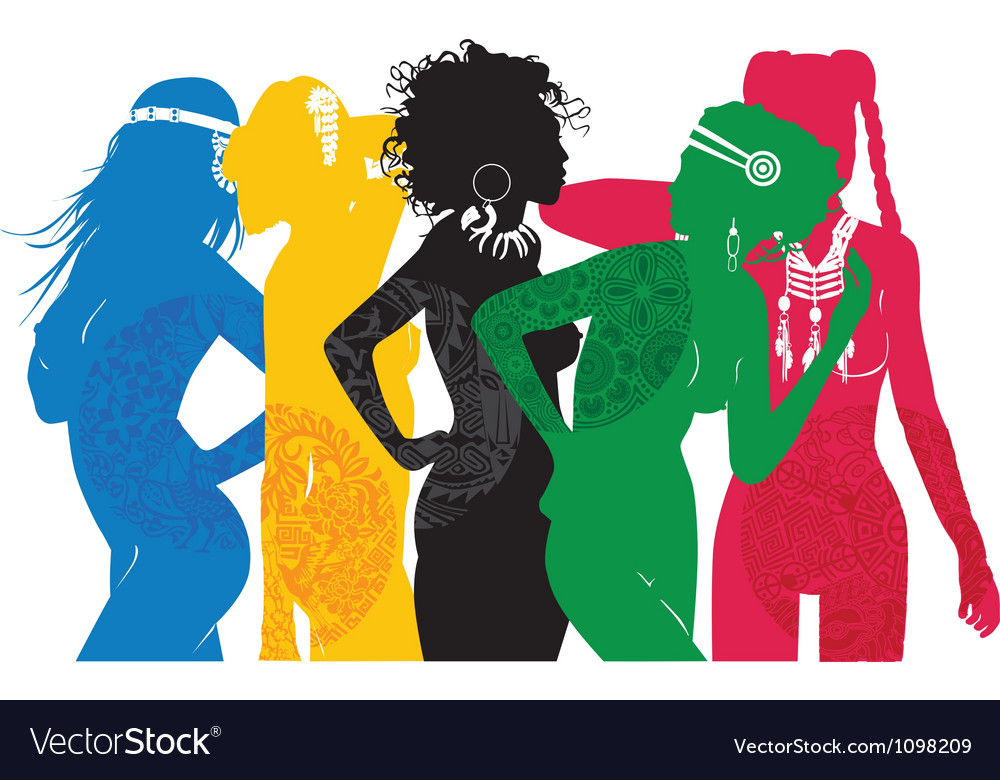 Girls are different sides of the world vector | Price: 1 Credit (USD $1)
