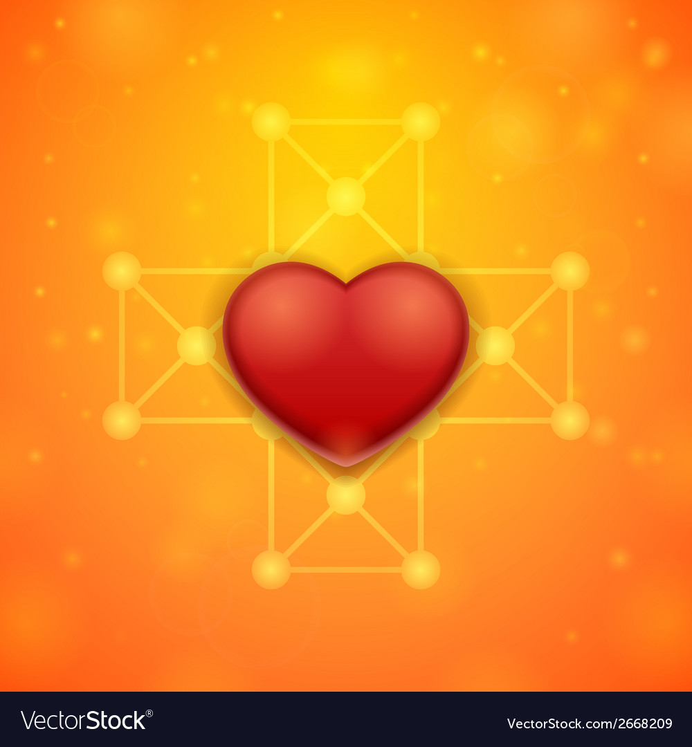 Heart on an orange background vector | Price: 1 Credit (USD $1)
