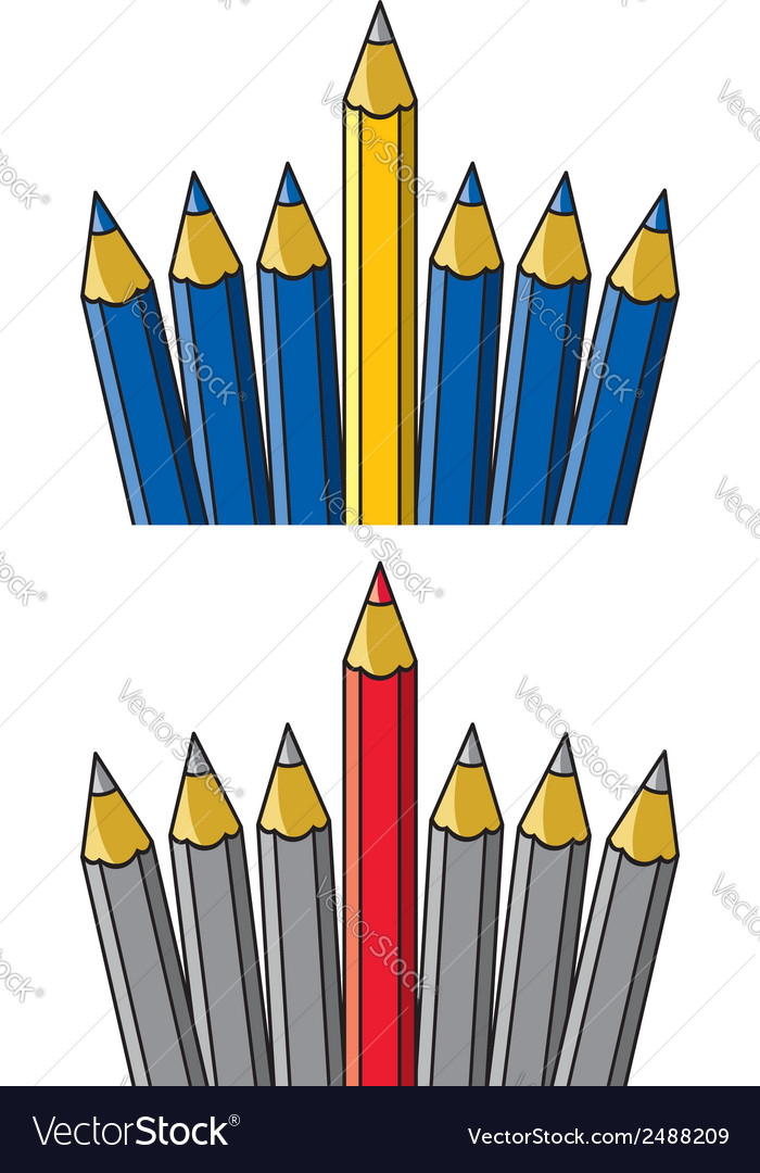 Pencil standing out from others vector | Price: 3 Credit (USD $3)