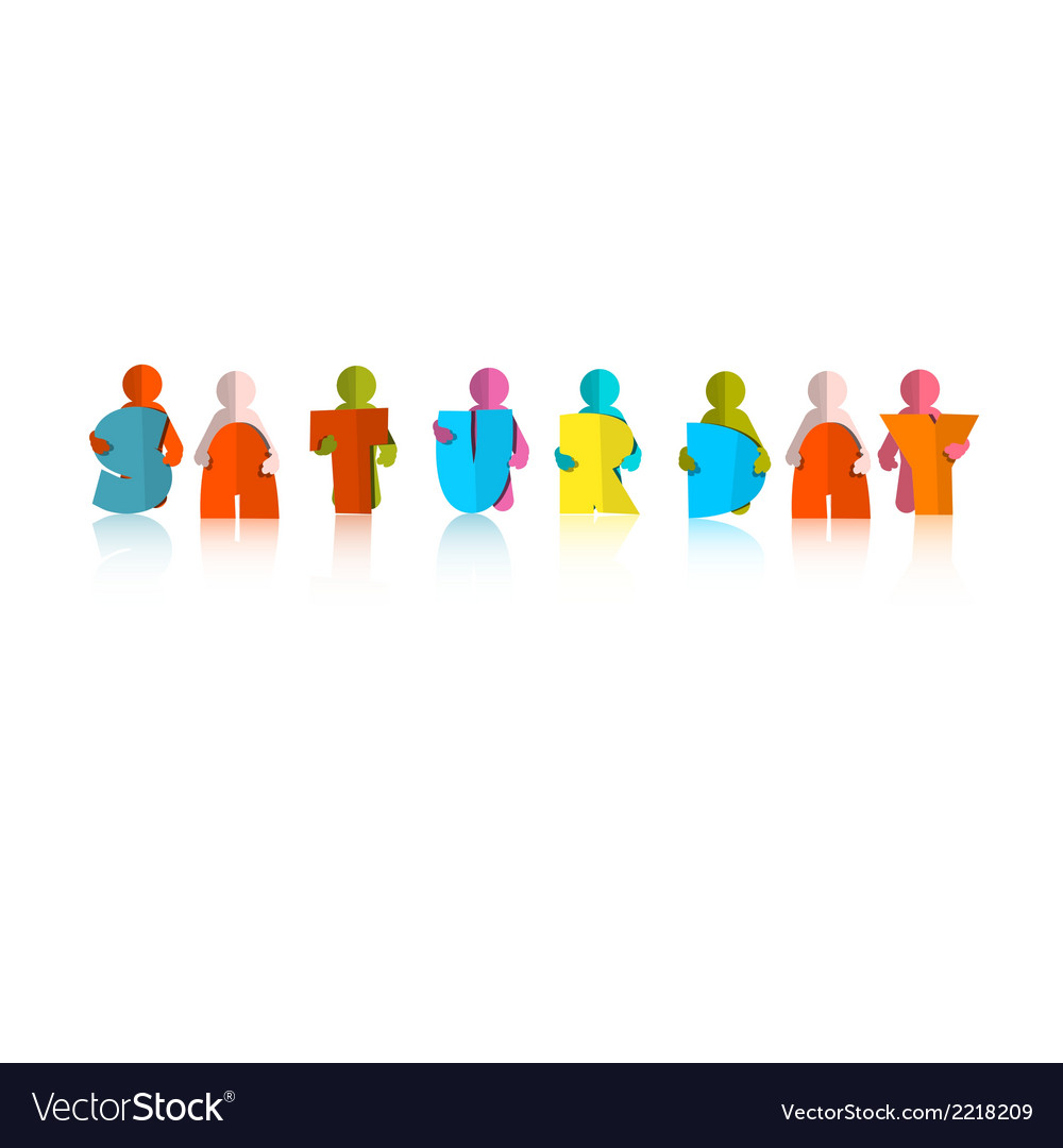 Saturday colorful title - paper cut people and vector | Price: 1 Credit (USD $1)