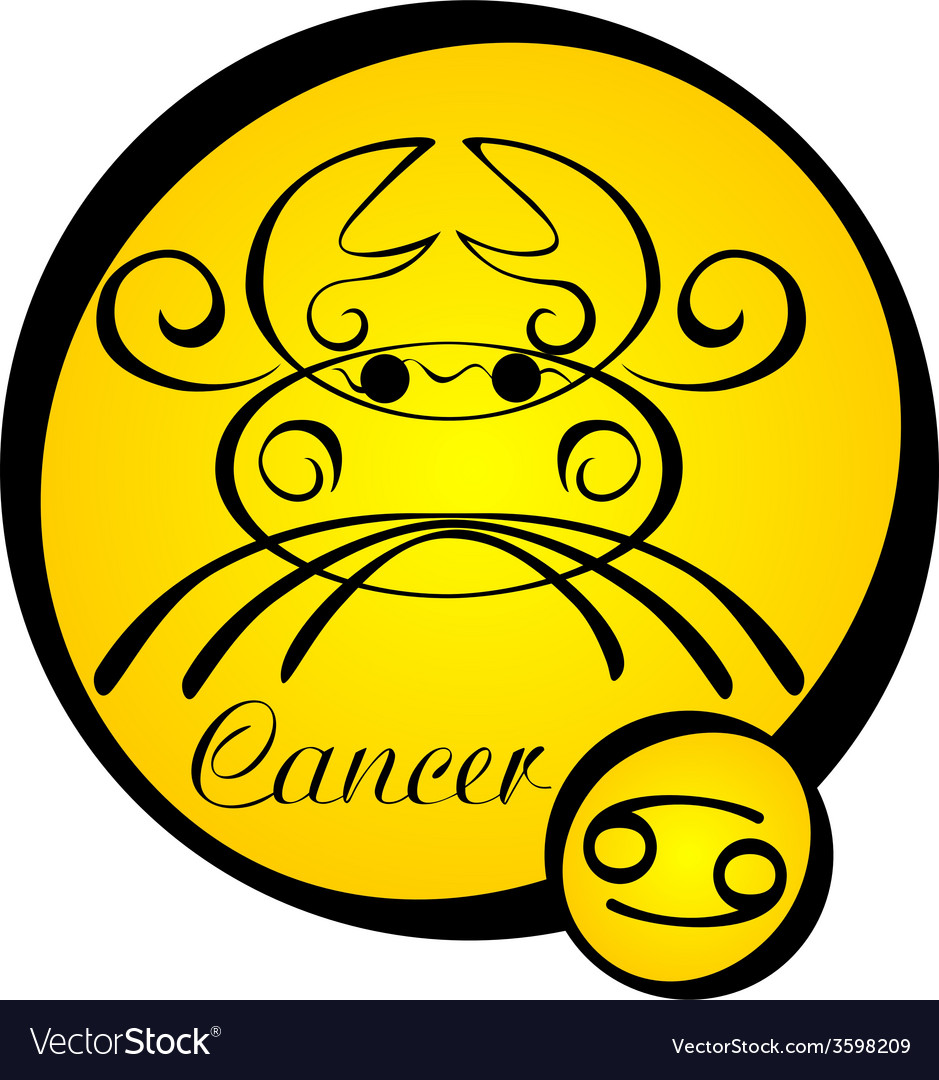 Stylized zodiac signs in a yellow circle cancer vector | Price: 1 Credit (USD $1)