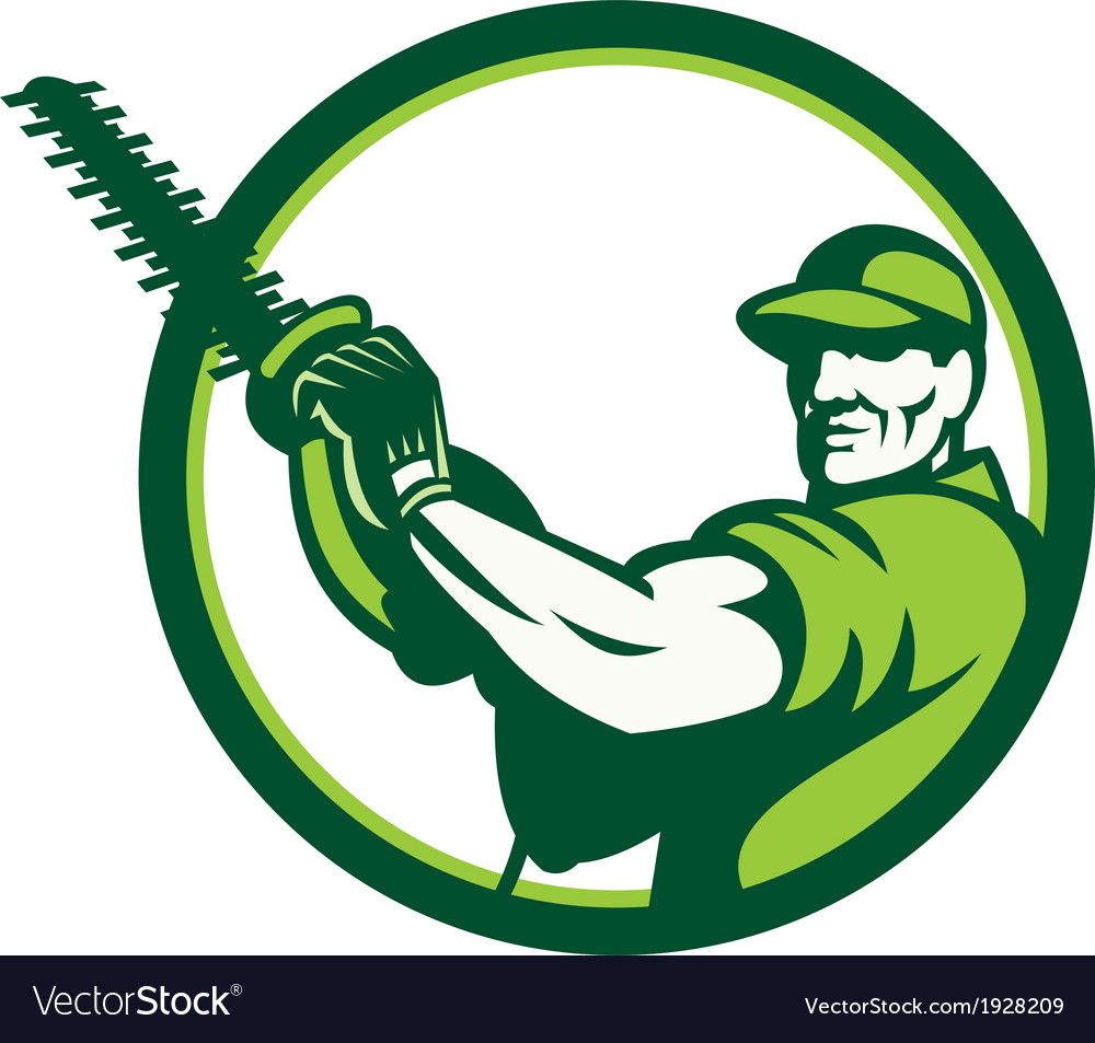 Tree surgeon holding hedge trimmer retro vector | Price: 1 Credit (USD $1)