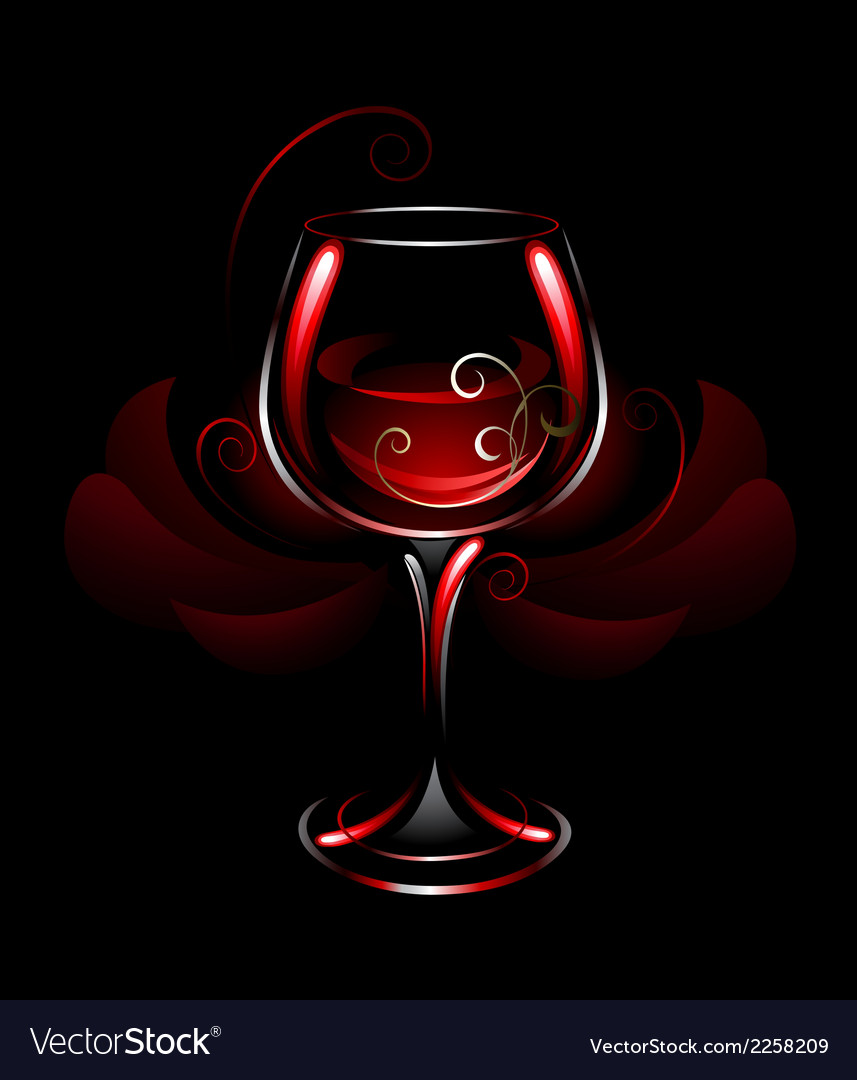 Wineglass of red wine vector | Price: 1 Credit (USD $1)