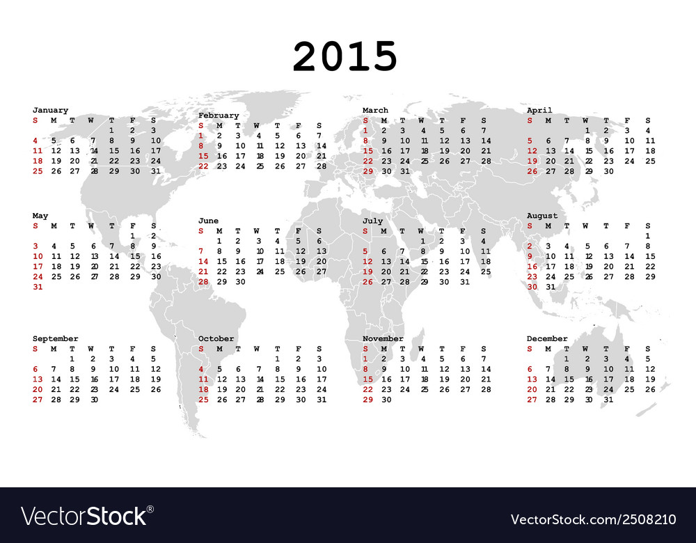 2015 calendar for agenda with world map vector | Price: 1 Credit (USD $1)