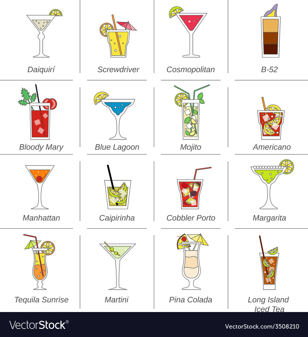 Alcohol cocktails icons flat line vector | Price: 1 Credit (USD $1)