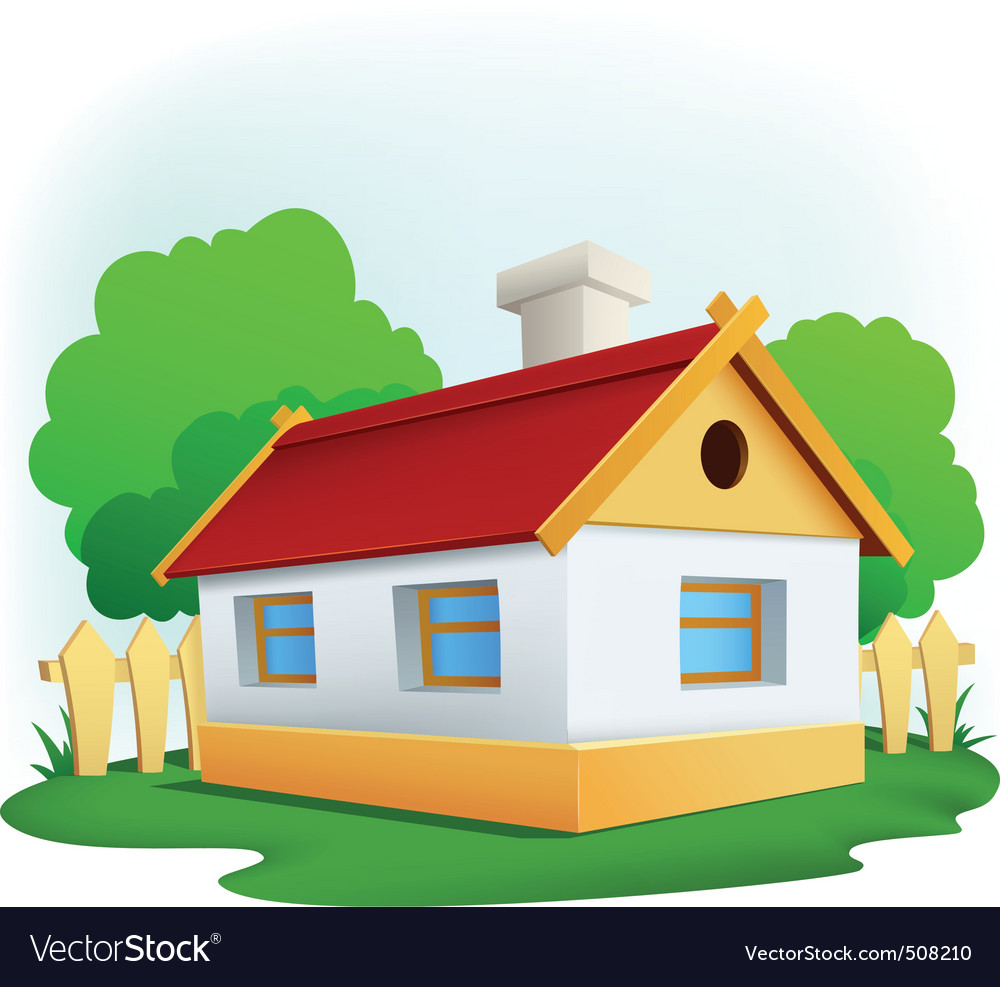 Cartoon rural house with among trees and fence vector | Price: 1 Credit (USD $1)