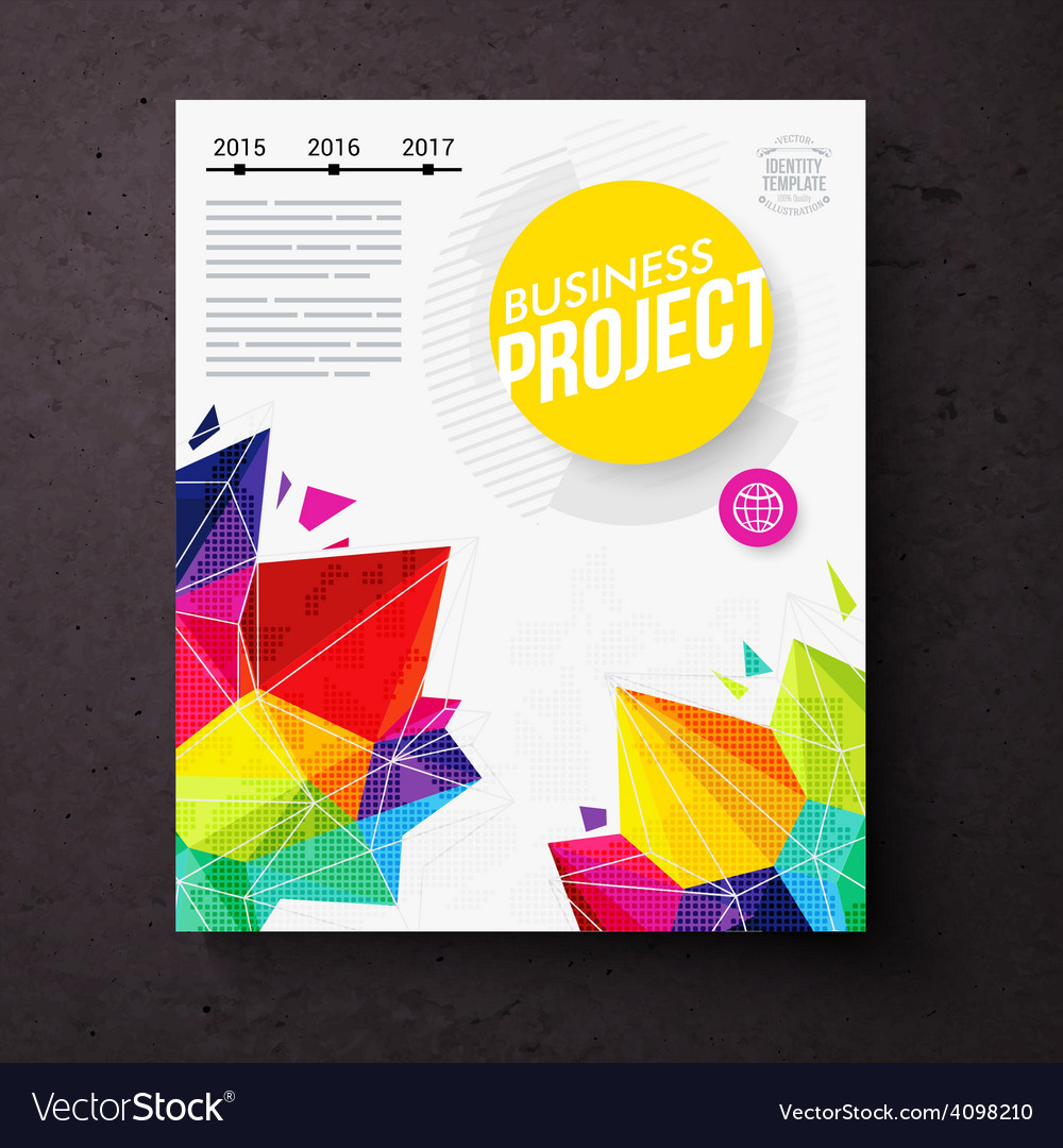 Colorful geometric business report design template vector | Price: 1 Credit (USD $1)