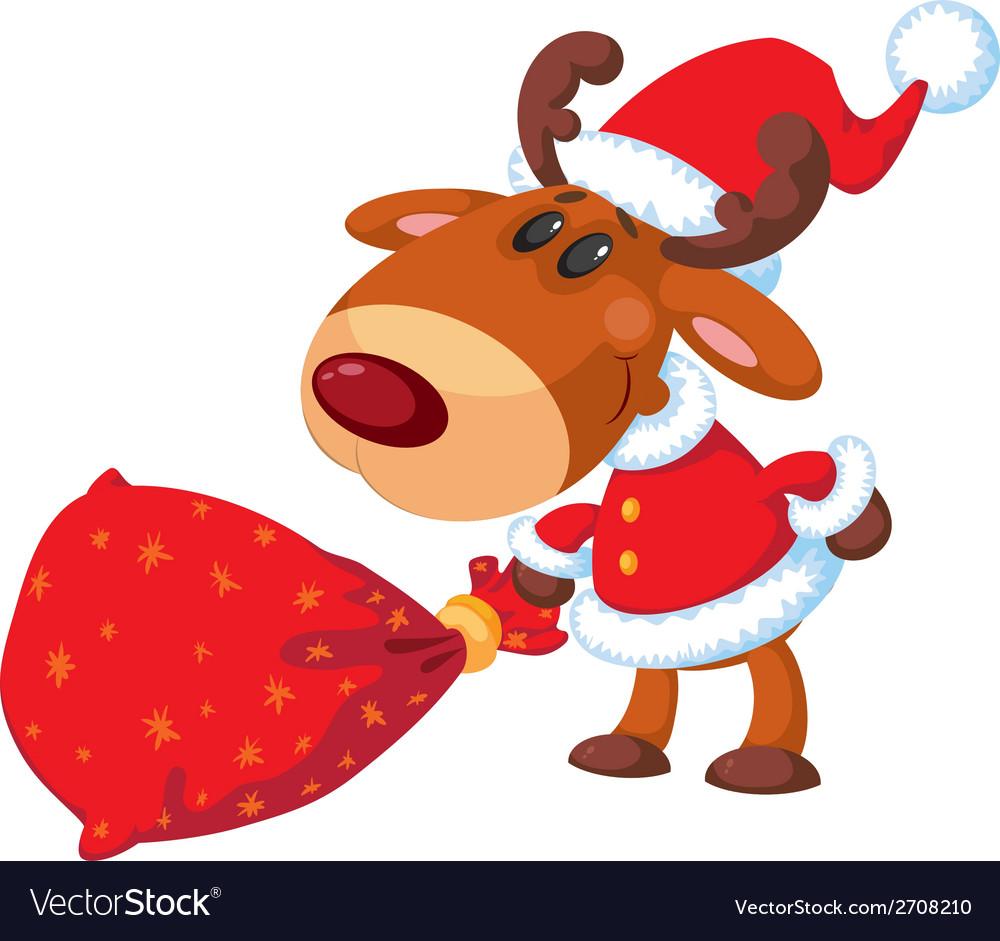 Deer santa with bag vector | Price: 3 Credit (USD $3)