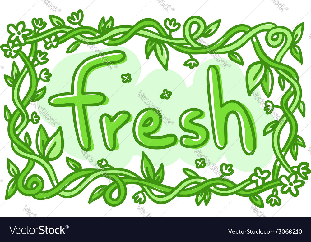 Fresh doodle decorative label vector | Price: 1 Credit (USD $1)