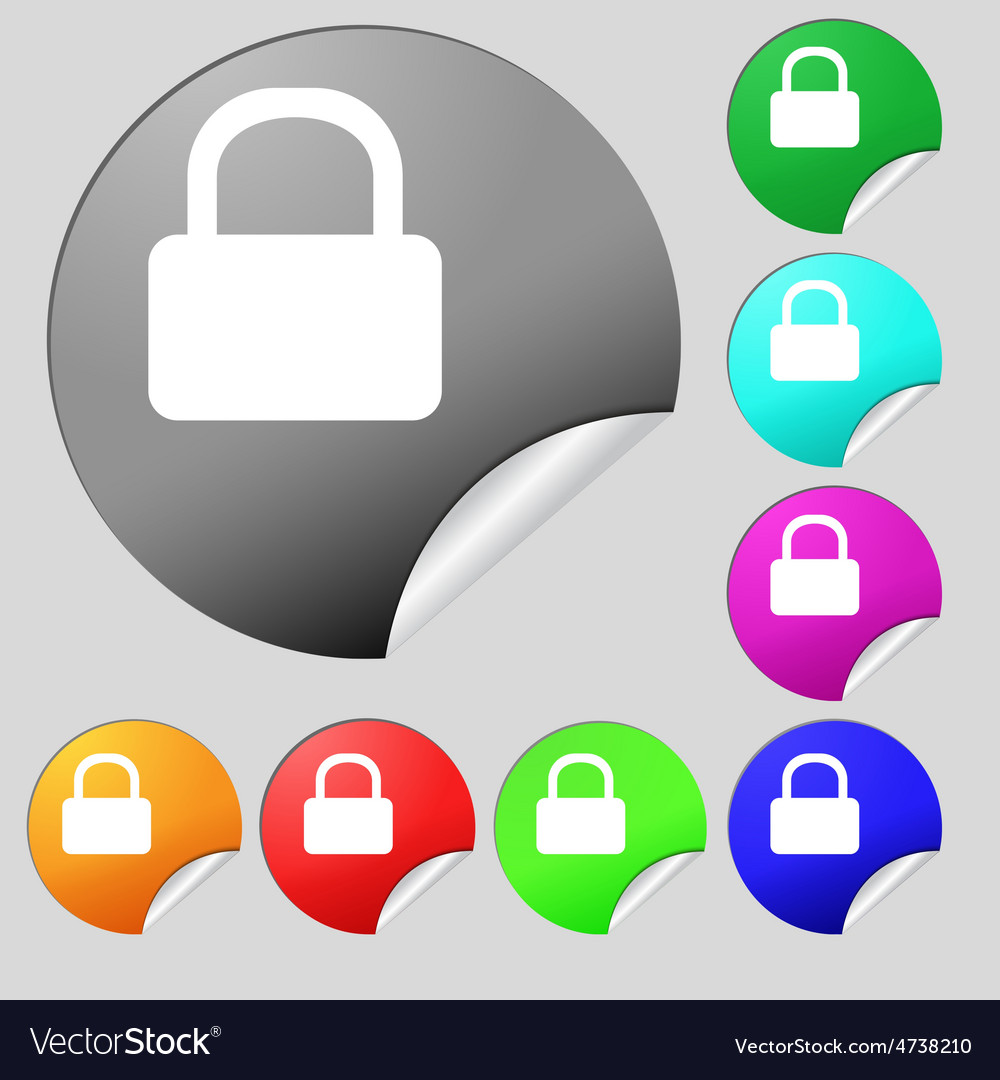 Pad lock icon sign set of eight multi-colored vector | Price: 1 Credit (USD $1)