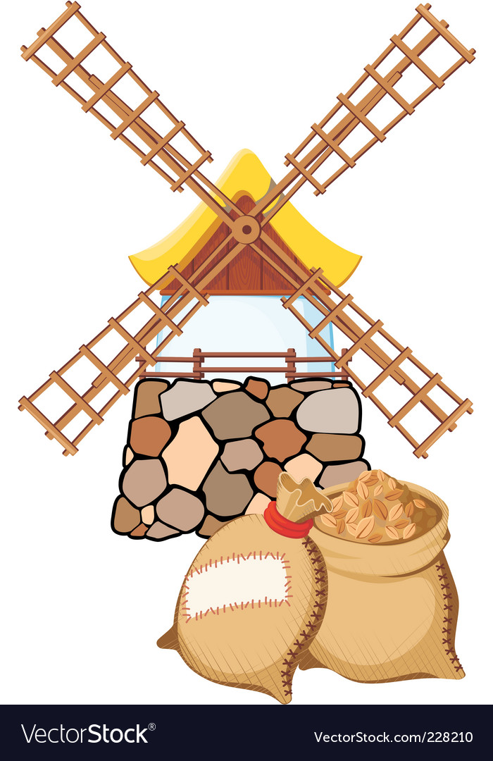 Windmill and bags vector | Price: 3 Credit (USD $3)