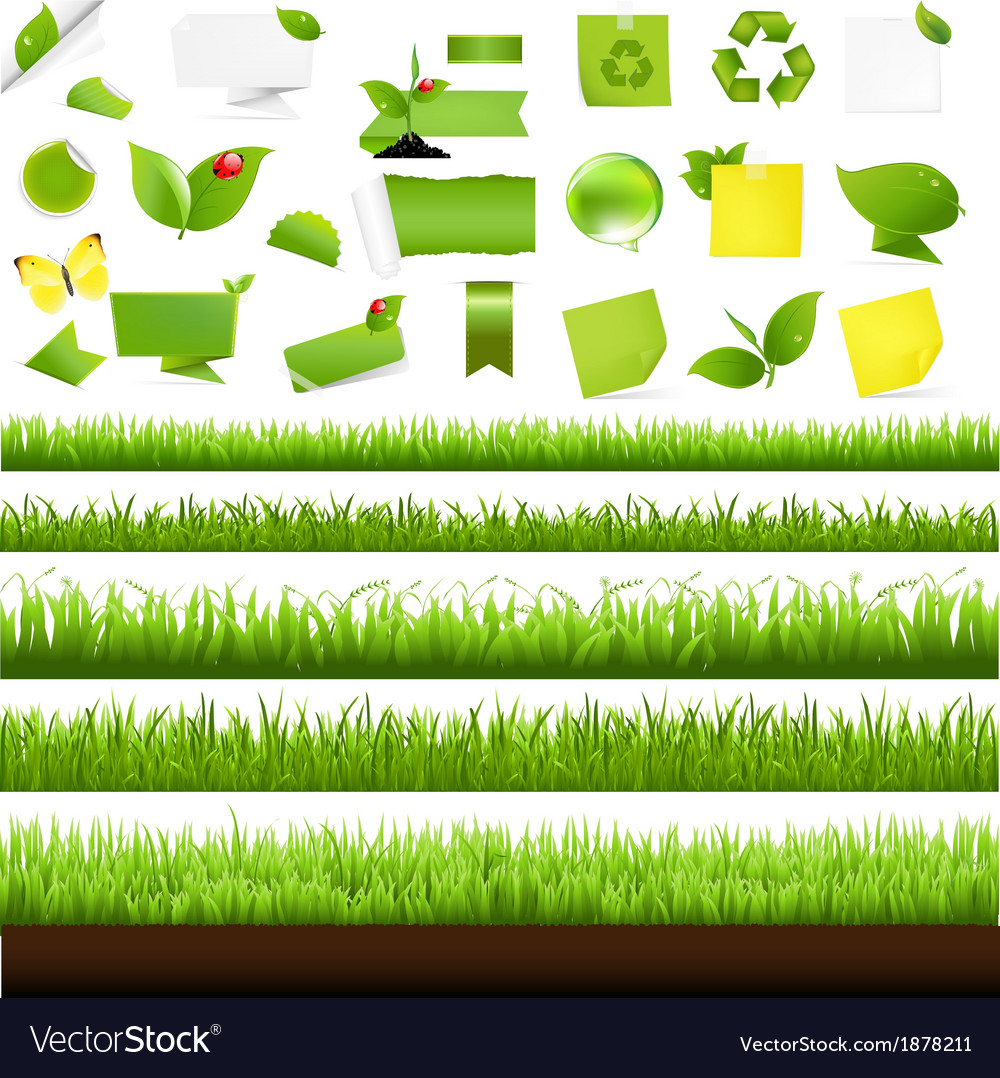 Big nature set with grass border vector | Price: 1 Credit (USD $1)