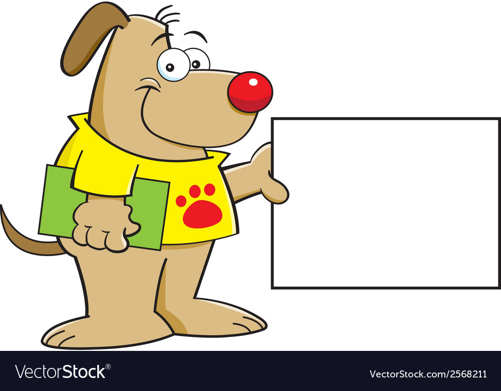 Cartoon puppy with a sign vector | Price: 1 Credit (USD $1)