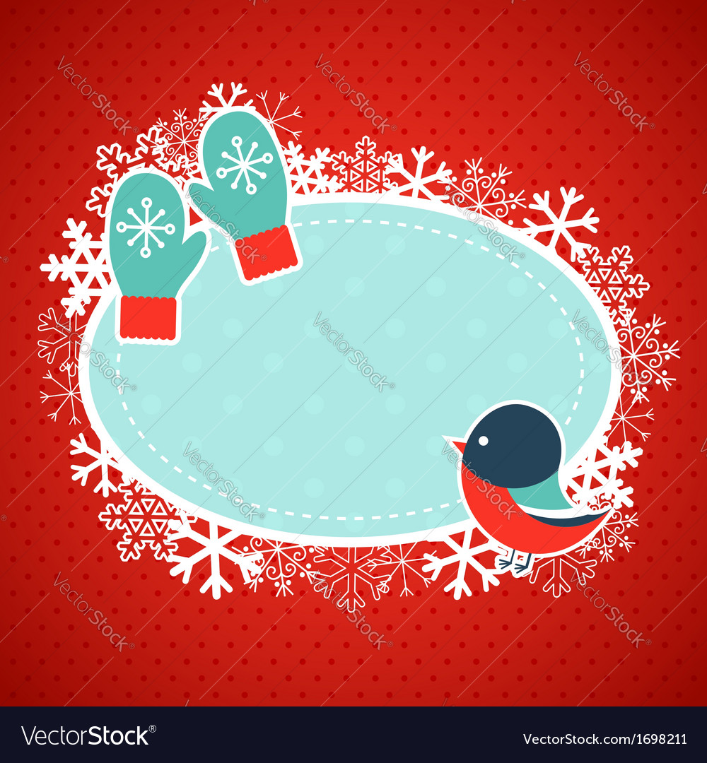 Cute winter invitation xmas card vector | Price: 1 Credit (USD $1)