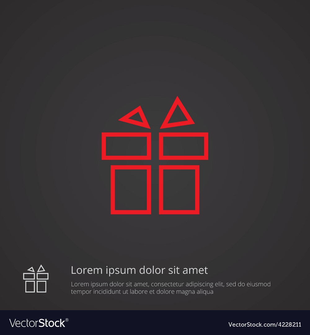 Gift outline symbol red on dark background logo vector | Price: 1 Credit (USD $1)