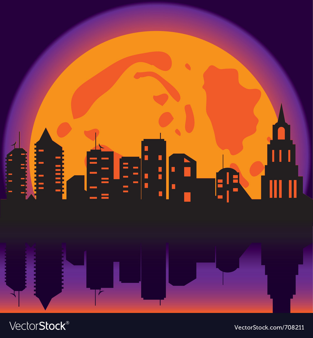 Halloween night city vector | Price: 1 Credit (USD $1)