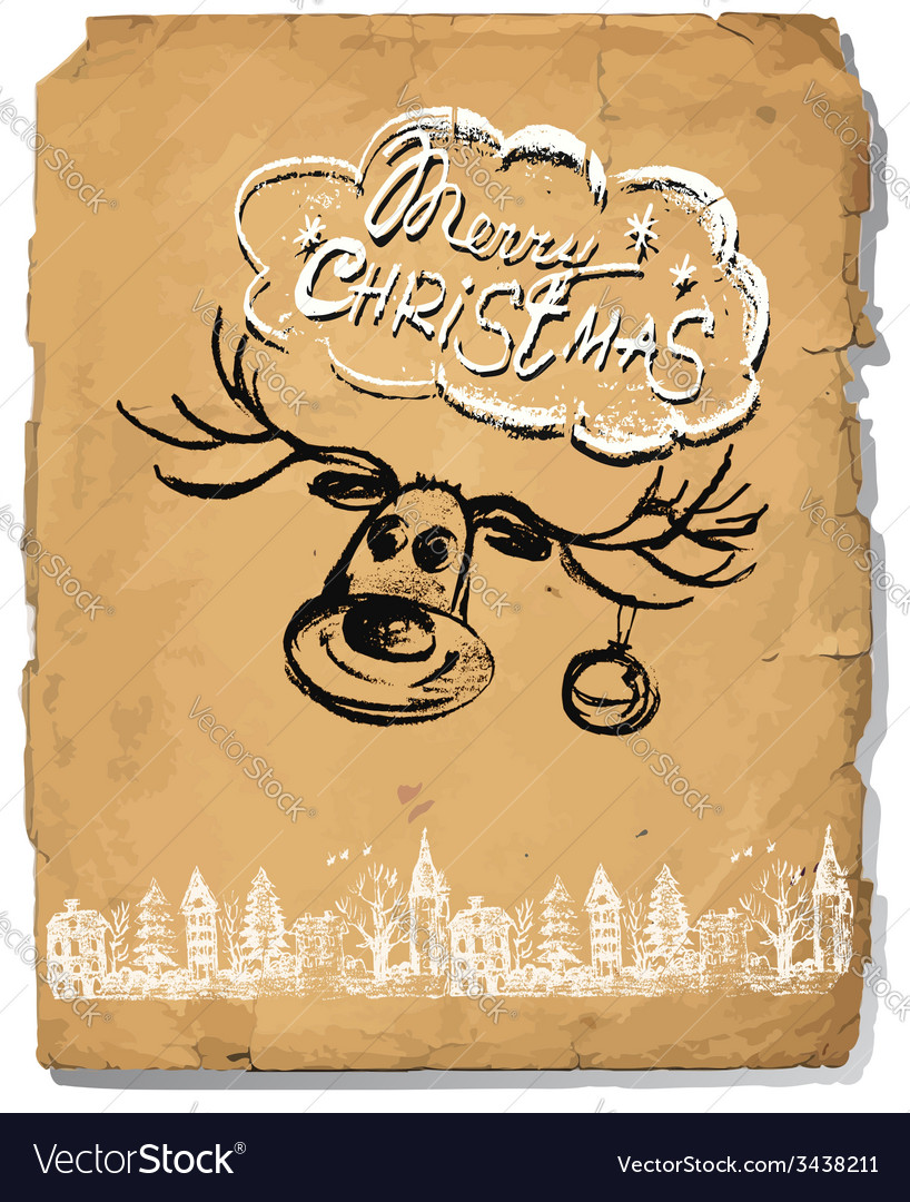 Hand drawn congratulation christmas greeting card vector | Price: 1 Credit (USD $1)