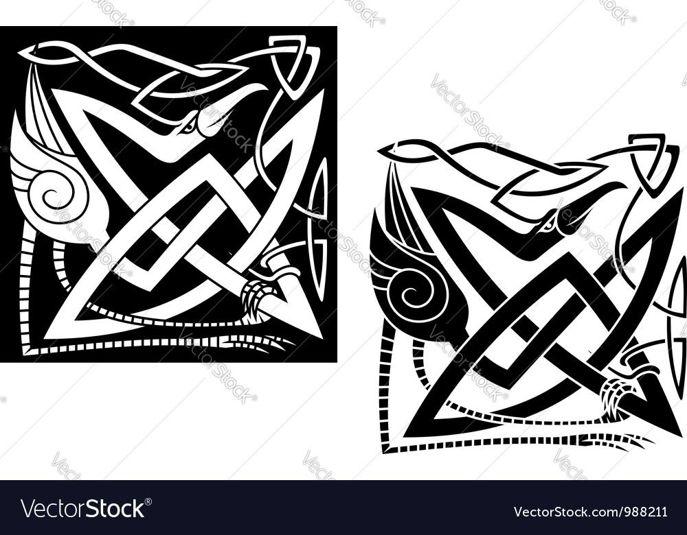 Heron bird on celtic ornament vector | Price: 1 Credit (USD $1)