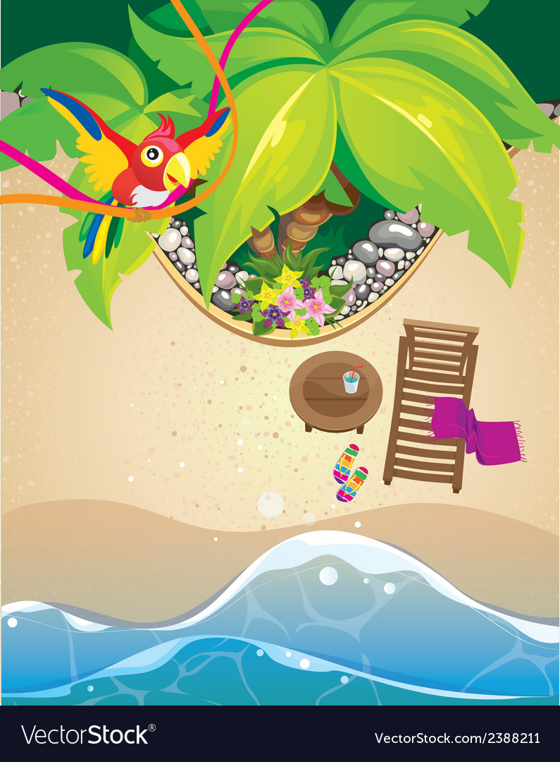 Parrot and beach vector | Price: 3 Credit (USD $3)