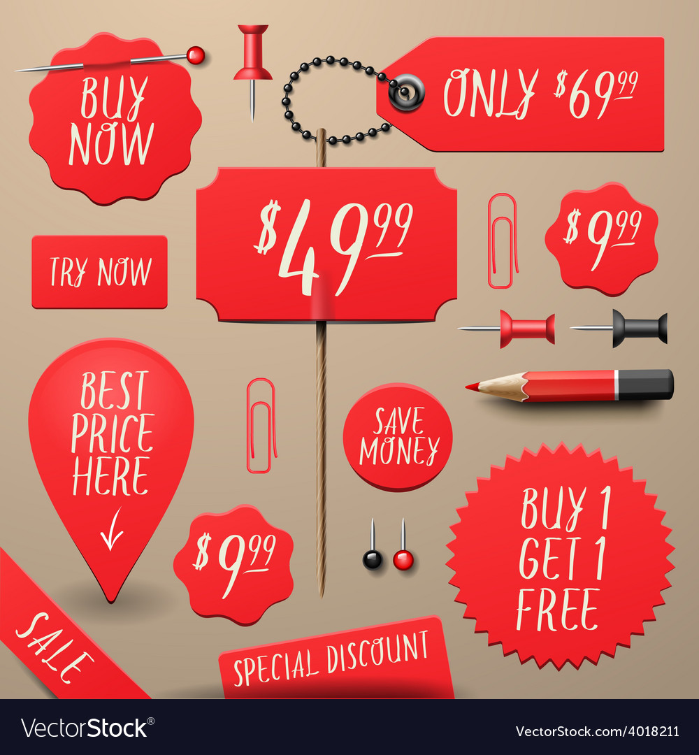 Set of commercial sale and discount stickers vector