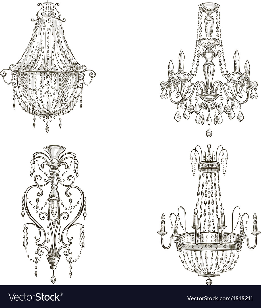 Set of four chandelier drawings vector | Price: 1 Credit (USD $1)