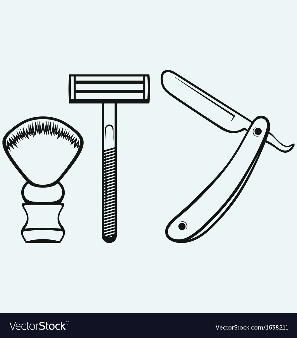 Straight razor and shaving brush vector | Price: 1 Credit (USD $1)
