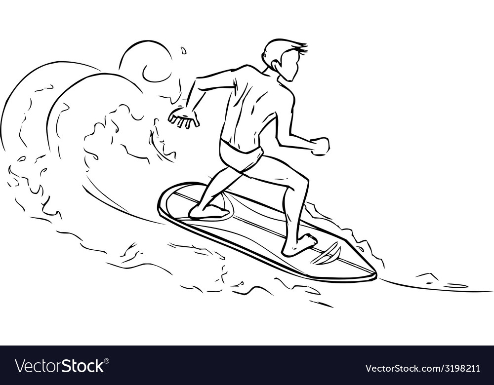 Surfing man on surfboard on sea waves vector | Price: 1 Credit (USD $1)
