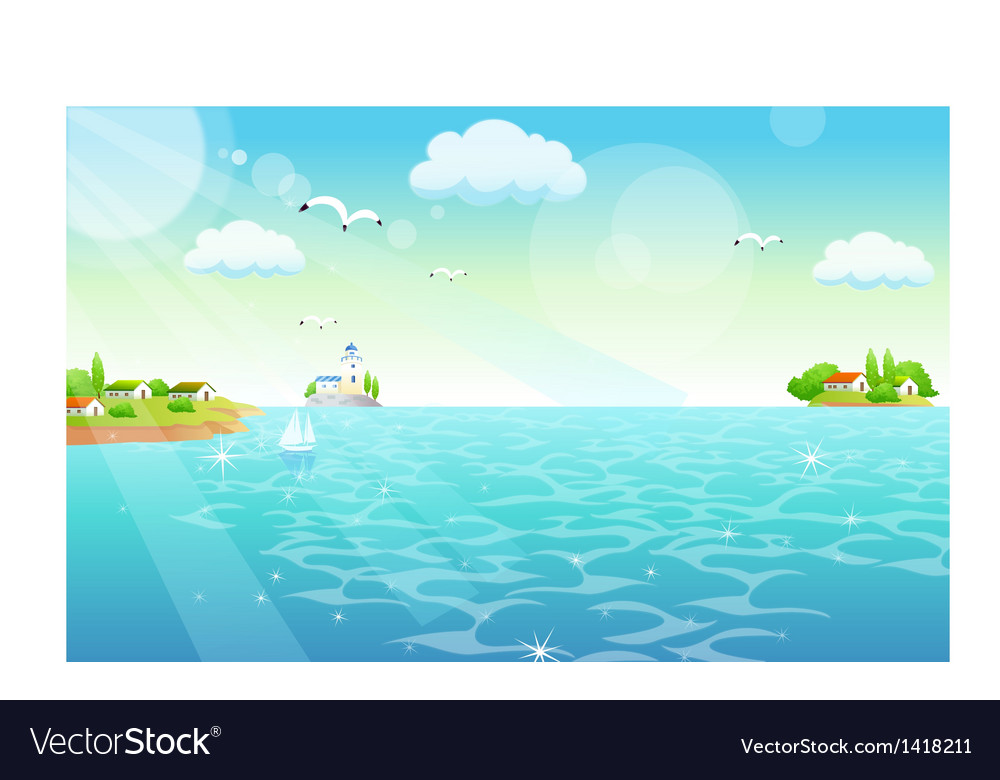 Town shore scene vector | Price: 1 Credit (USD $1)