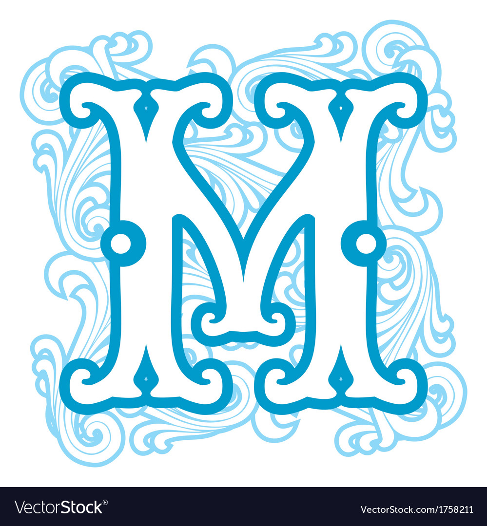 Winter vintage letter m vector | Price: 1 Credit (USD $1)