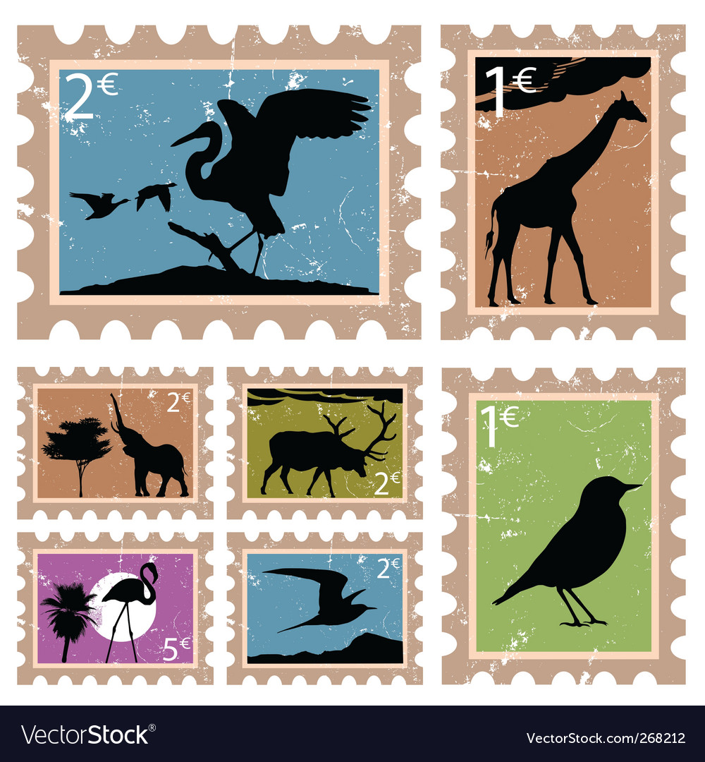 Animal stamps vector   Price: 1 Credit (USD $1)