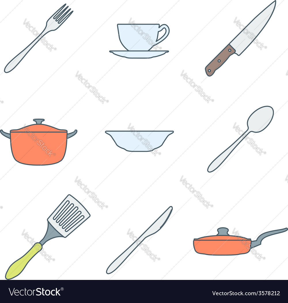 Color outline dinnerware icons set vector | Price: 1 Credit (USD $1)
