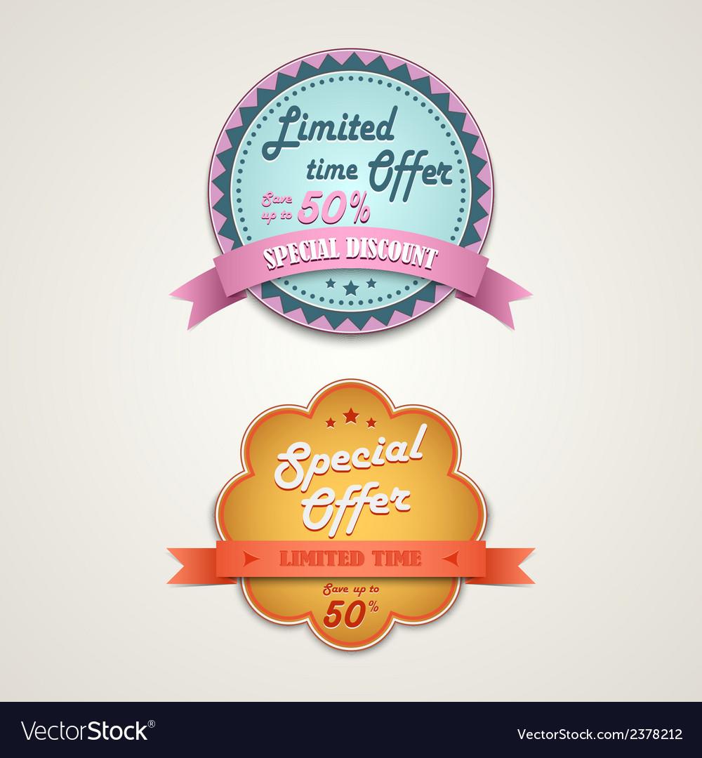 Discount vintage retro design style element vector | Price: 1 Credit (USD $1)