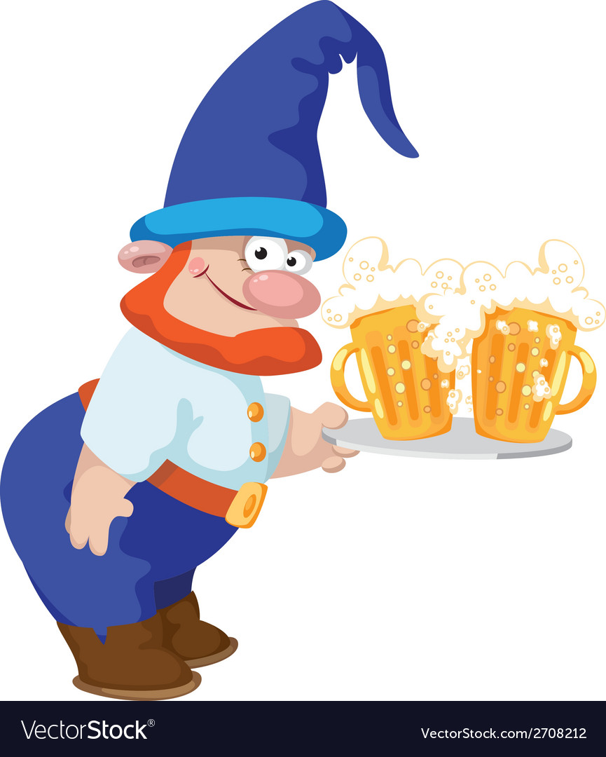 Dwarf and a tray with a beer vector | Price: 3 Credit (USD $3)