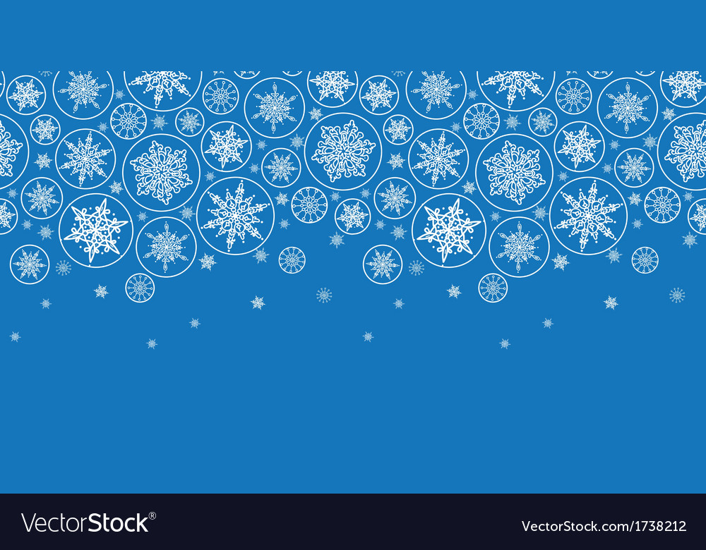 Falling snowflakes horizontal border seamless vector | Price: 1 Credit (USD $1)