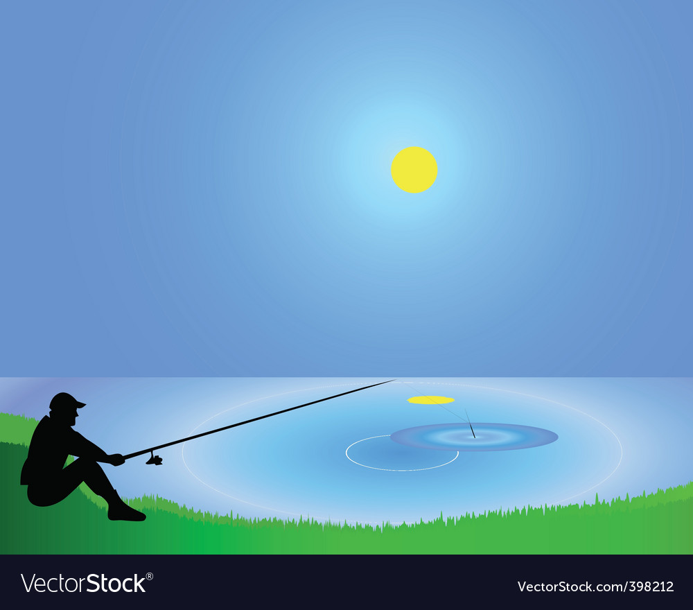 Fisherman with a fishing tackle vector | Price: 1 Credit (USD $1)
