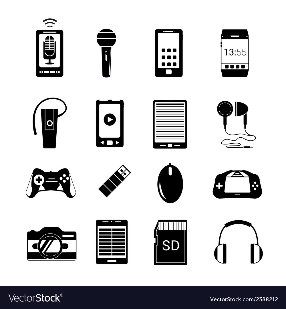 Gadget icons black vector | Price: 1 Credit (USD $1)