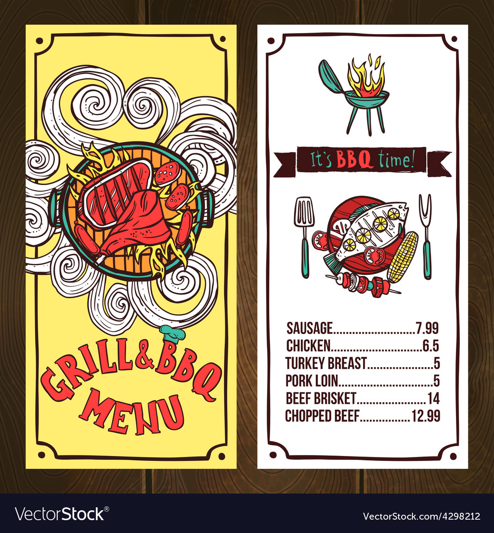Grill menu sketch vector   Price: 1 Credit (USD $1)