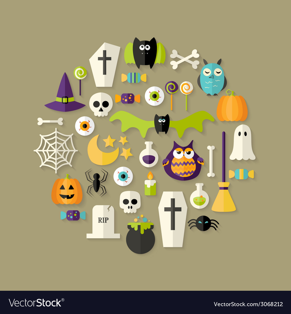 Halloween flat icons set over light brown vector | Price: 1 Credit (USD $1)