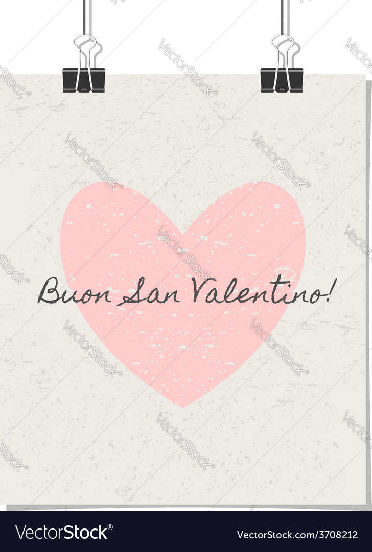 Italian st valentines day poster vintage design vector | Price: 1 Credit (USD $1)