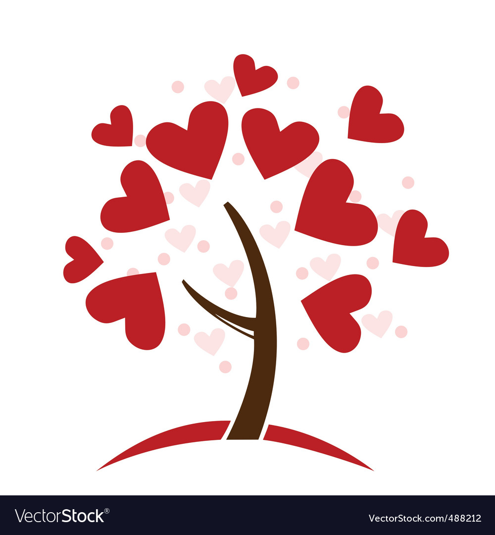 Love hearts tree vector | Price: 1 Credit (USD $1)